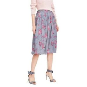Banana Republic Watercolor Ikat Pleated Midi Skirt